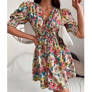 Boho floral puff sleeve A line dress